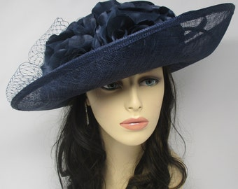 Navy Blue  with Satin  Flowers Kentucky Derby Hat, Church Hat , Tea Hat Wide Brim Sinamay Hat 7503