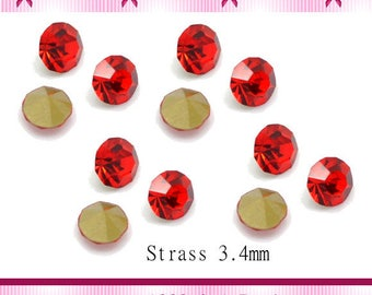 20 rhinestone tapered red size 3.4 mm x 2.3 mm