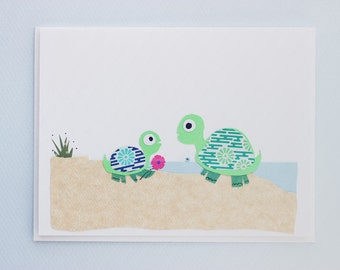 Mother and baby turtle print card - by Emily Lin