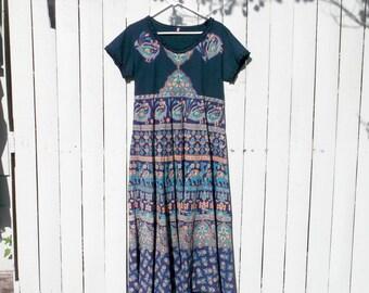 Boho Beach Navy Jade Gypsy T-shirt Maxi Dress szS