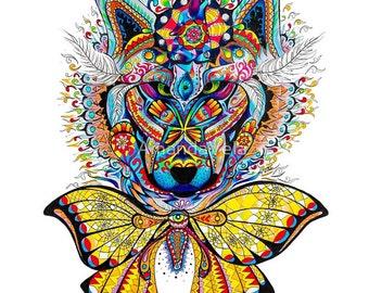 Wolf Art -Moon Art -Zentangle-Mandala-Bohemian -Psychedelic- Spirit Animal Art- Boho -Reclaimed Wood Frame, Wolf Canvas Prints