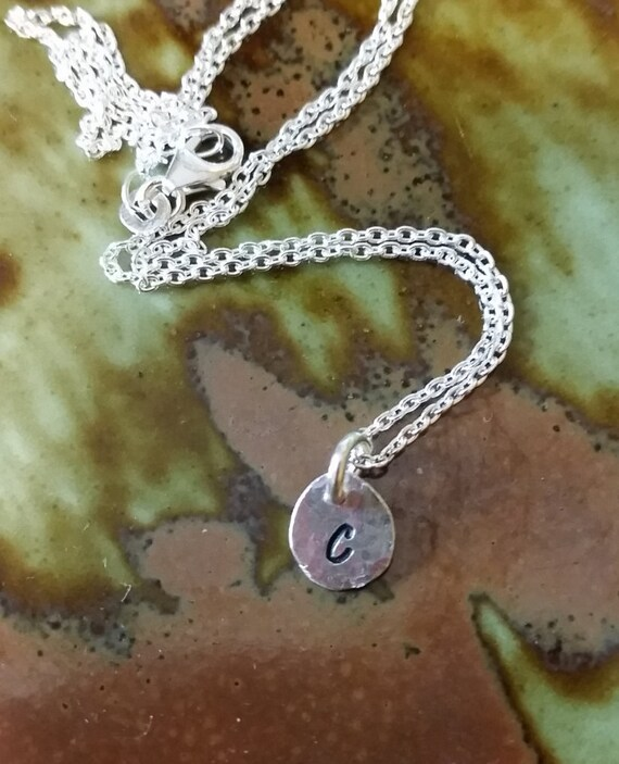 Initial Necklace, letter, Fine Silver .999, stamped nugget, small stamped initial, mini letter