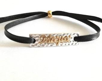 Mama Bracelet, Statement Jewelry, Mommys bracelet , Adjustable bracelet . Gift For Her. Woman accessories.Black