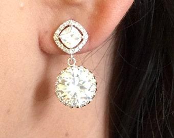 925 CZ bridal earrings,tear drop crystal earrings,clear crystal bridal earrings,wedding earrings,bridesmaid earrings,silver,bridesmaid gift