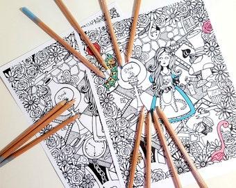 Alice in Wonderland Printable Coloring Page