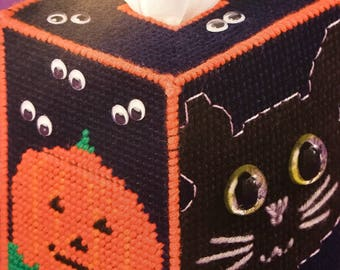 Halloween Boutique Tissue Box Cover Black Cat Tissue Box Cover Free Tissue With Purchase Needlepoint Halloween Decoration