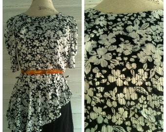 Vintage 80s Dress - Black and White DYNASTY Floral 80s Dress with PEPLUM
