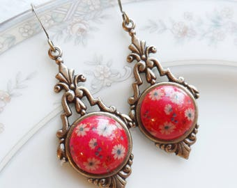 Vintage Glass Button Earrings, Red with White and Blue Flowers, Antique Brass