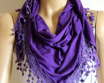 purple laced scarf - scarves - woman scarves - summer scarf - purple scarves - gift -woman -  summer scarves - purple summer scarf - scarf