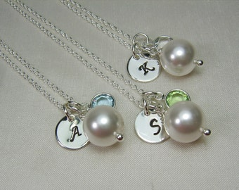 Bridesmaid Jewelry Set of 7 Personalized Bridesmaid Necklace Bridesmaid Gift Bridesmaid Initial Necklace Monogram Bridal Party Gifts