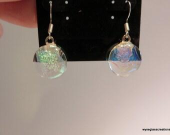 Fused glass dangle earrings
