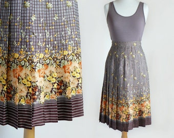 Vintage 70's High Waisted Floral & Plaid Print Brown Midi Length Pleated Skirt / X-Small - Small