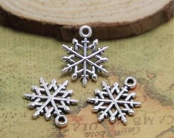 30pcs Snowflake Charms Silver tone Beautiful Design 2 Sided Snowflake Charm pendants 15x20mm ASD0551