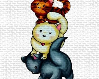 Cute Kitties Digital Stamp By Sasayaki Glitter