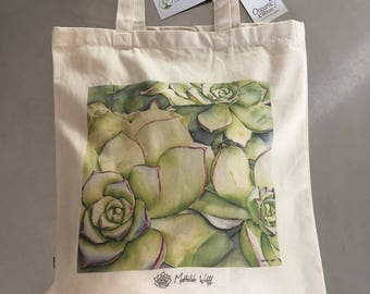 Bag cotton tote bag Sempervivum from my watercolor / organic cotton tote bag