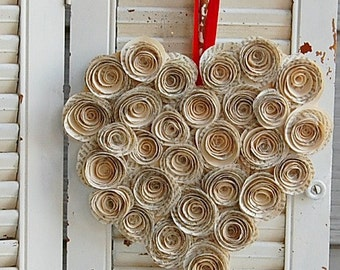 """14""""  - Valentine Day Wreath / Paper Wreath / Paper Roses /Book Page Wreath / Wedding Decor"""