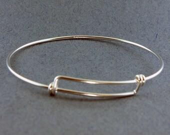 "Sterling Silver Adjustable Wire Bangle 8-9.5"" 14ga Wire (980S-50)"