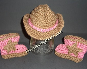 Crochet Newborn Baby Cowgirl Cowboy Hat Boots Set Outfit Photo Prop Pink Brown Shower Gift Keepsake 0-3 Months