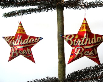 Recycled Shiner Birthday Chocolate Stout Beer Can Stars - Set of 2 Christmas Ornaments