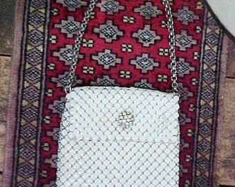 Vintage Whiting & Davis White Enameled Mesh Handbag Rhinestone Clasp