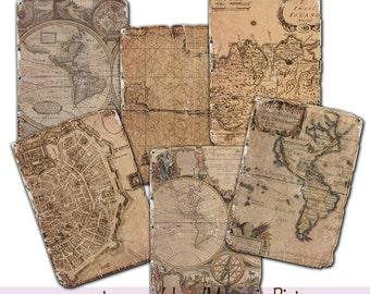 Decoupaged map clips | Etsy AU