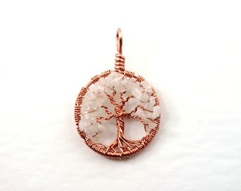 Rainbow moonstone tree-of-life necklace, June birthstone Pendant, Yggdrasil jewelry, June birthday gift, Sterling silver tree-of-life