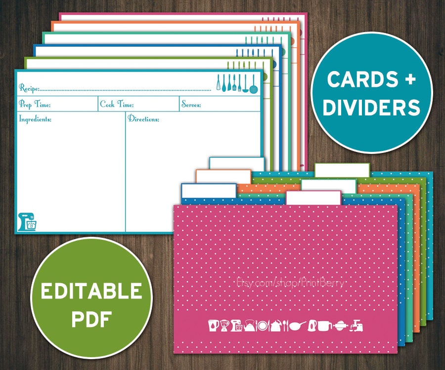 Editable recipe cards divider 4x6 Recipe cards printable