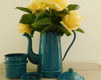 Enamel coffee pot  French vintage coffee pot  Blue enamel pot  French enamelware  Teal blue coffee pot