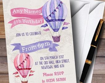 Vintage Watercolour Girls Hot Hair Balloon Children's Birthday Party Invitations