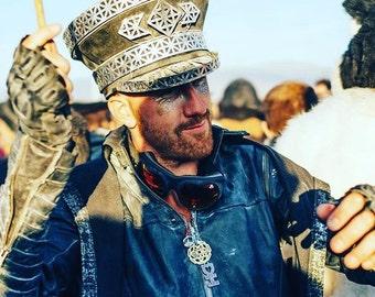FREE SHIPPING! Geometric 'Rook' Military Hat. Captain Hat. Burning man Hat. Coachella.