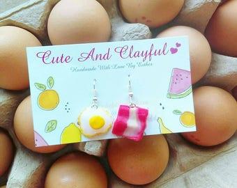 Cute Bacon And Fried Egg Polymer Dangle Earrings