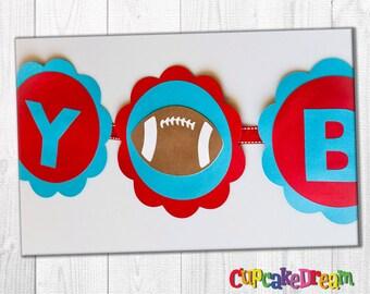 Football Birthday Banner, Sports Baby Shower Banner, Happy Birthday Sign
