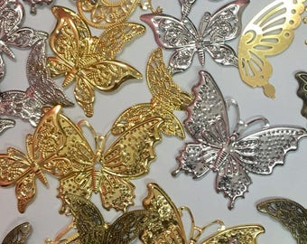 Filigrees-Mixed Lots Brass Butterfly Filigree Embellishment-Assorted Size Brass Butterfly Filigree-Gold/Silver/Bronze Brass Butterfly