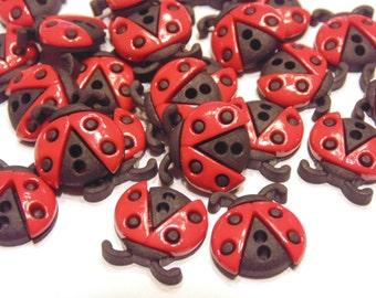 5 flat 2 hole ladybug  buttons, 16 x 15 mm (48)