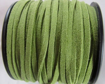 Suede cord flat 3mm, green