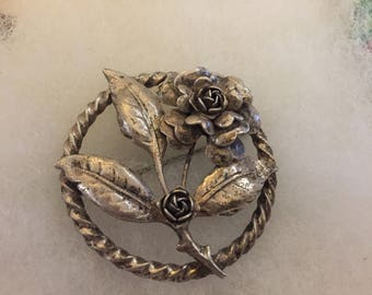 800 silver blooming rose brooch made by PERUZZI from Florence Italy