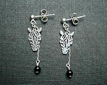 Silver Zebra earrings / onyx