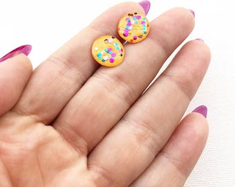 Yellow Resin Earrings- Resin Earrings- Cute Glitter Earrings- Glitter Studs- Yellow Earrings- Stud Earring - Polka Dot Yellow Earrings