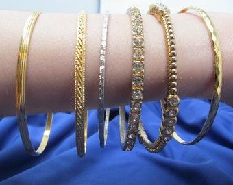 Graziano Vintage Gold Bracelets - Set of 6 bangle bracelets