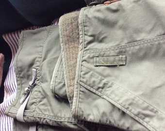 OLIVE GREEN PANTS Military, cold weather, lined, vintage, trousers, awesome
