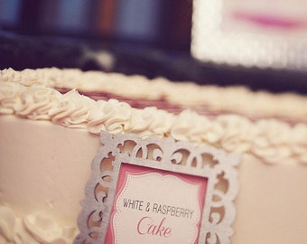 Dessert Labels with Frame, Buffet Labels