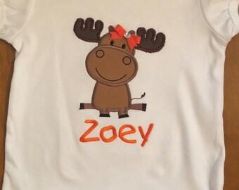 Girl Moose Shirt or Baby Bodysuit