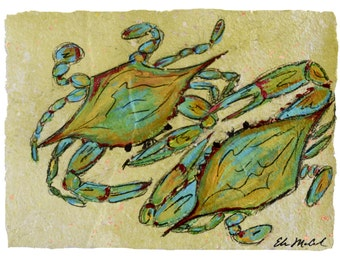 Blue Crabs- PRINT matted to fit 11x14 standard frame