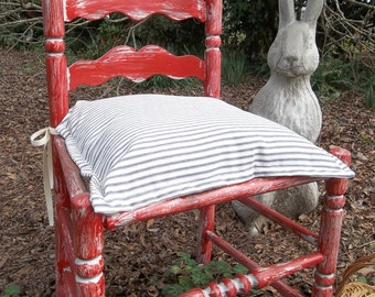 Striped Ticking Chair Pads Custom Sizes Fabrics Chair Pad Covers Custom Chair Covers Insert Optional Blue Ticking Chair Pad
