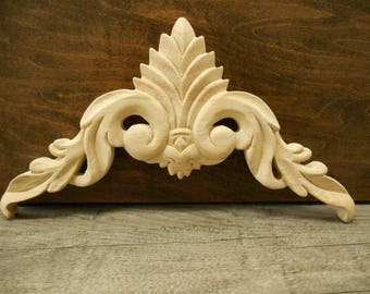 "Carved Wood Onlay -Wood Applique-  10-3/4""W 8 x 6  1/8"" H x 1/2"" D -Hand Carved Wood Applique- ref-09s"