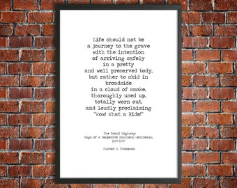 Hunter S. Thompson Printable Life Mantra 'What A Ride!' Instant Download Motivational Poster Hand Typed Digital Print Beat Generation Art