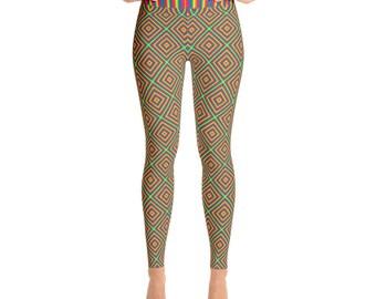 Multi Color Geometric Rainbow Stripe High Waisted Yoga Leggings by Dixie Cloth