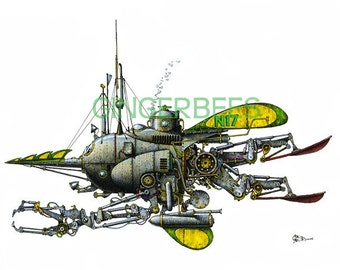 "10 of 12 Fanciful Submarine Giclee Print on Fine Art Smooth Paper (16""x12"")"