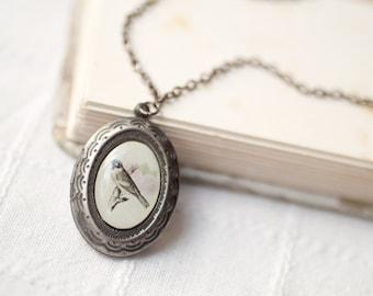 Bird locket necklace, Mothers day gift Silver locket necklace, Medaillon foto, Photo locket necklace, Locket antique, Vintage bird locket