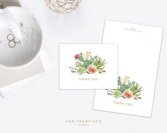 Cactus Thank You Card - Desert, Floral, Watercolor, Succulent - A2 - Folded Blank Cards - PDF Instant Download - Melody Collection